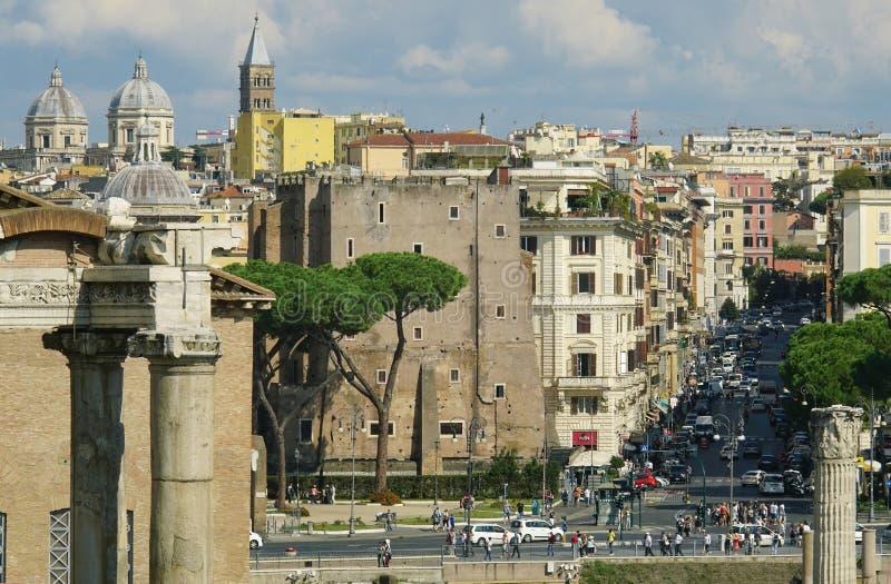 Vista de la plaza Venezia roma foto de archivo