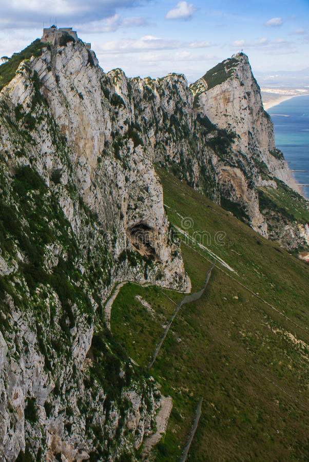 Vista de la roca de Gibraltar imágenes de archivo libres de regalías