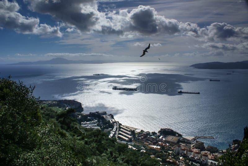 Vista de la roca de Gibraltar imagenes de archivo