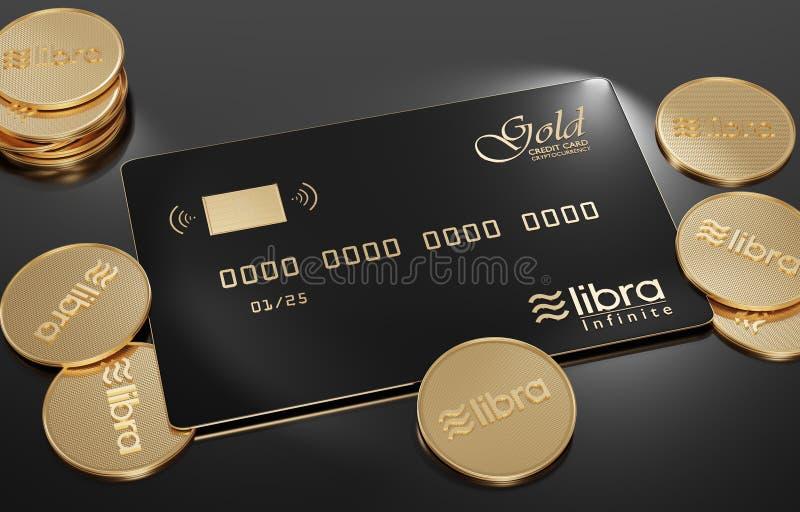 Vista de la tarjeta de crédito oro-negra del libra que miente en un fondo blanco con las monedas de oro del libra ilustración del vector