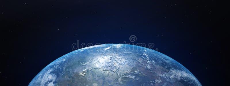 Vista de la tierra azul del planeta en espacio con su atmósfera 3D la representación, elementos de esta imagen suministró por la  ilustración del vector