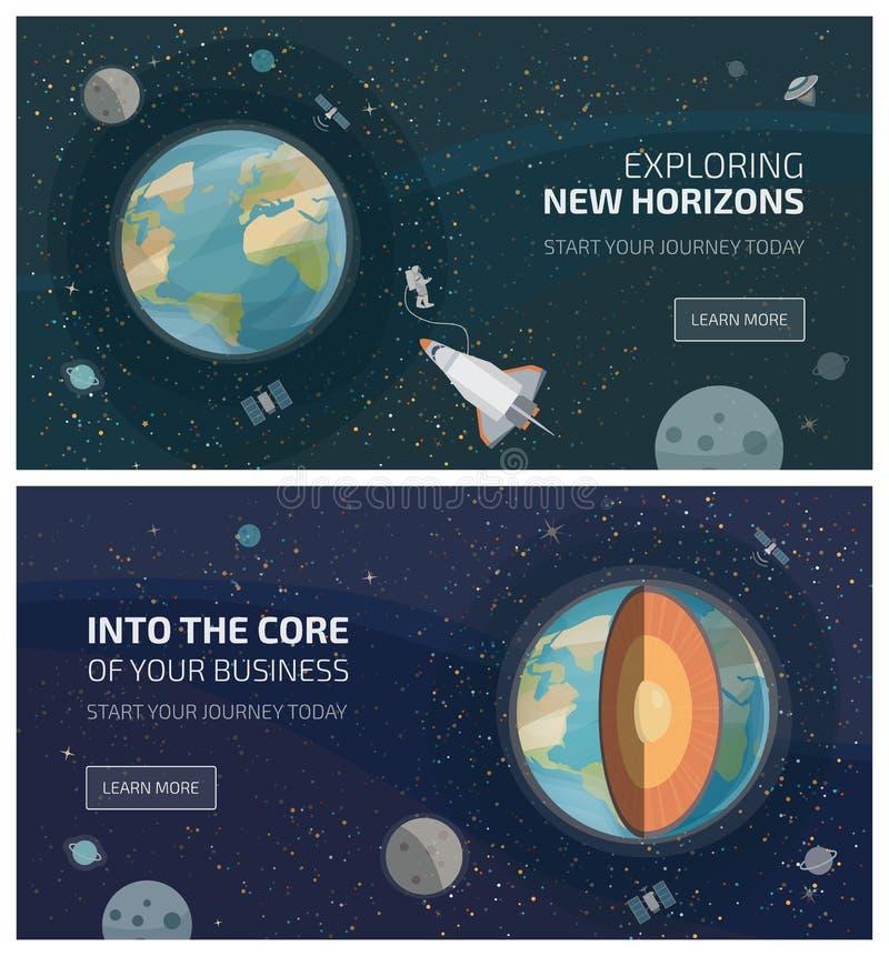 Vista de la tierra de banderas del espacio libre illustration
