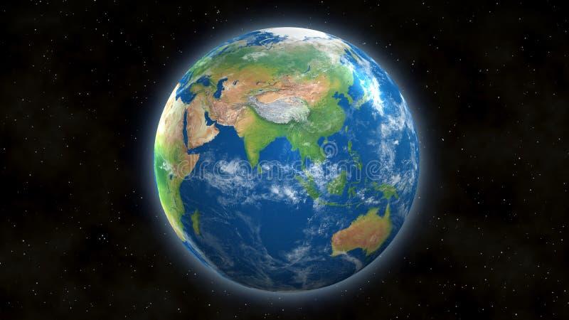 Vista de la tierra del espacio con Asia y la India ilustración del vector