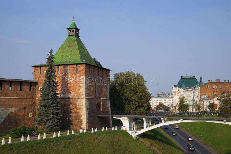 Vista de la torre de Nikolskaya El Nizhny Novgorod el Kremlin fotografía de archivo libre de regalías