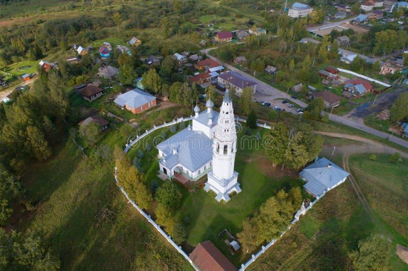 Vista de la transfiguración de la catedral del salvador, opinión superior de la tarde Sudislavl, Kostroma r foto de archivo