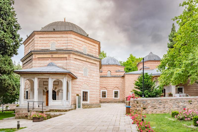 Vista de la tumba de Ahmed del shahzada (príncipe), mausoleo en Bursa, Turquía fotos de archivo