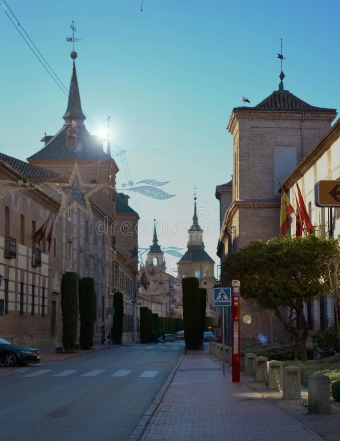 Vista de la universidad del complejo de Alcala de Henares imagen de archivo