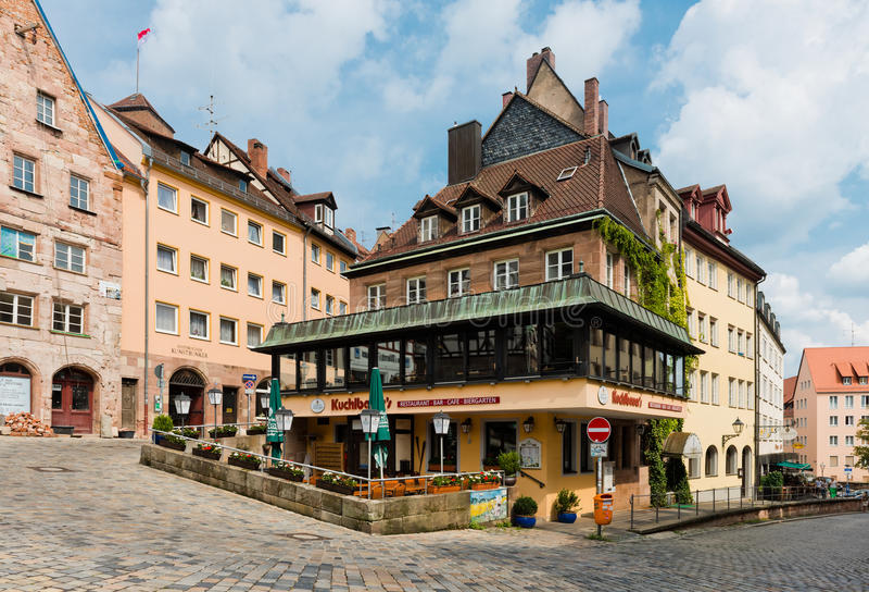 Vista de la vieja arquitectura de la ciudad en Nuremberg, Alemania imagenes de archivo