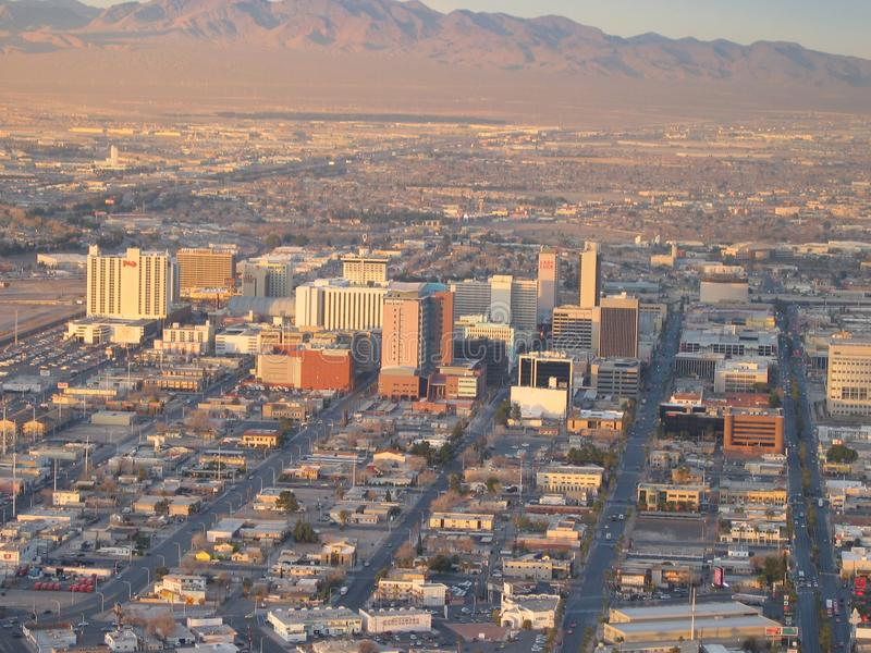 Vista de la vieja tira de Las Vegas Las Vegas, Nevada, los E imagen de archivo