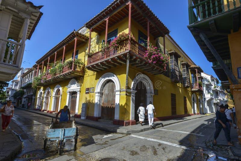 Vista de las calles de Cartagena, Colombia fotografía de archivo libre de regalías