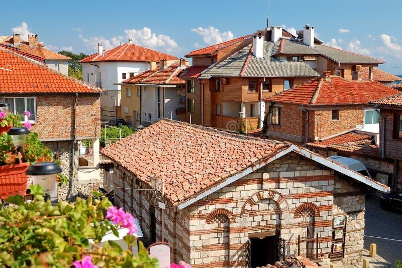 Vista de las casas en Nessebar, Bulgaria foto de archivo libre de regalías