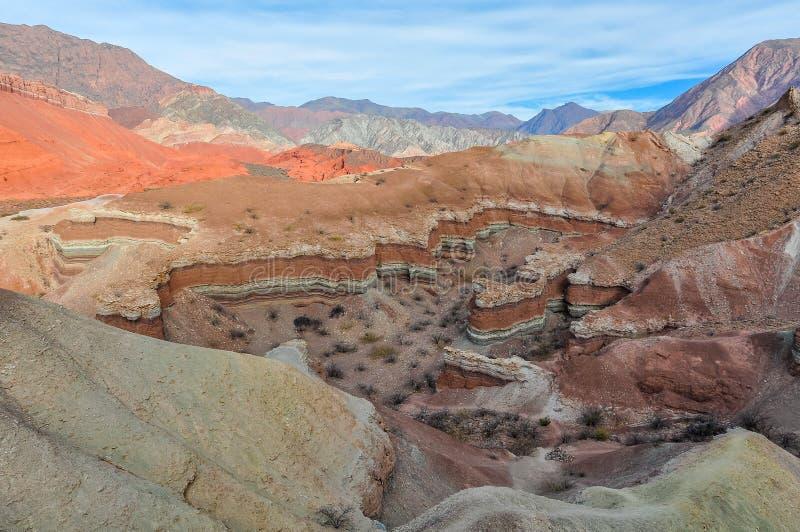 Vista de las formaciones de roca en el Quebrada de las Conchas, Argentin foto de archivo libre de regalías