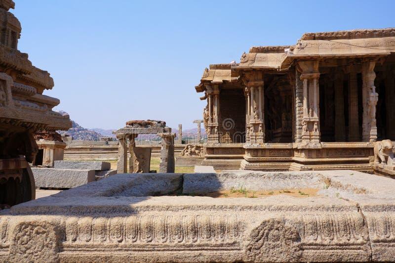 Vista de las ruinas del complejo Vittala del templo antiguo imagen de archivo libre de regalías