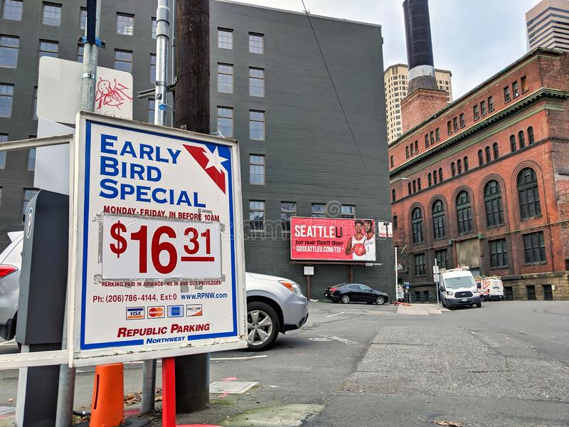 Vista de las tarifas especiales de estacionamiento para vehículos Republic Parking Northwest en imágenes de archivo libres de regalías