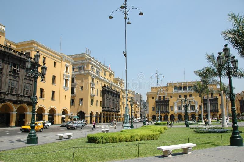Vista de Lima céntrica Perú foto de archivo