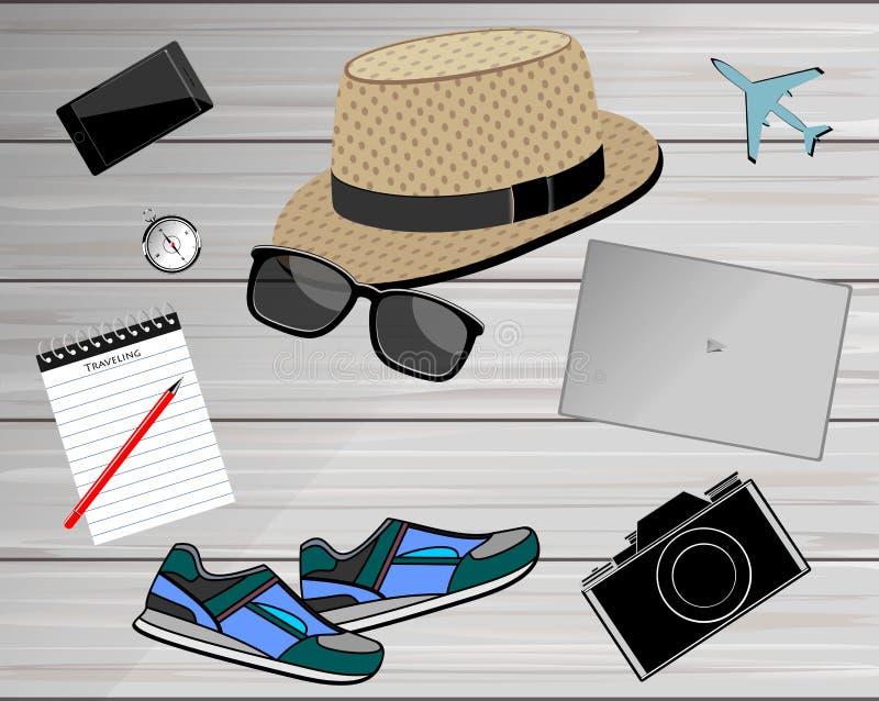 Vista de los accesorios del ` s del viajero Fondo del concepto del viaje stock de ilustración