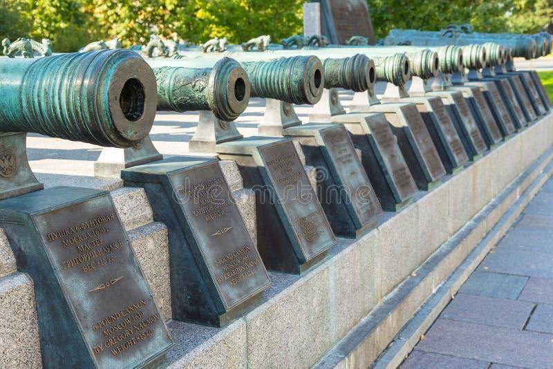 Vista de los cañones en la Plaza Roja, monumento de la artillería rusa fotos de archivo libres de regalías