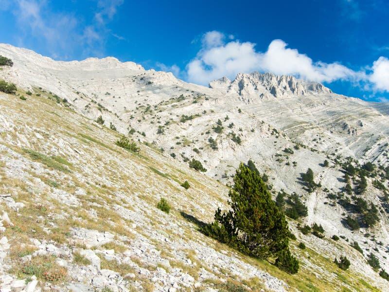 Vista de los mytikas máximos y de los picos circundantes, Grecia imagen de archivo libre de regalías
