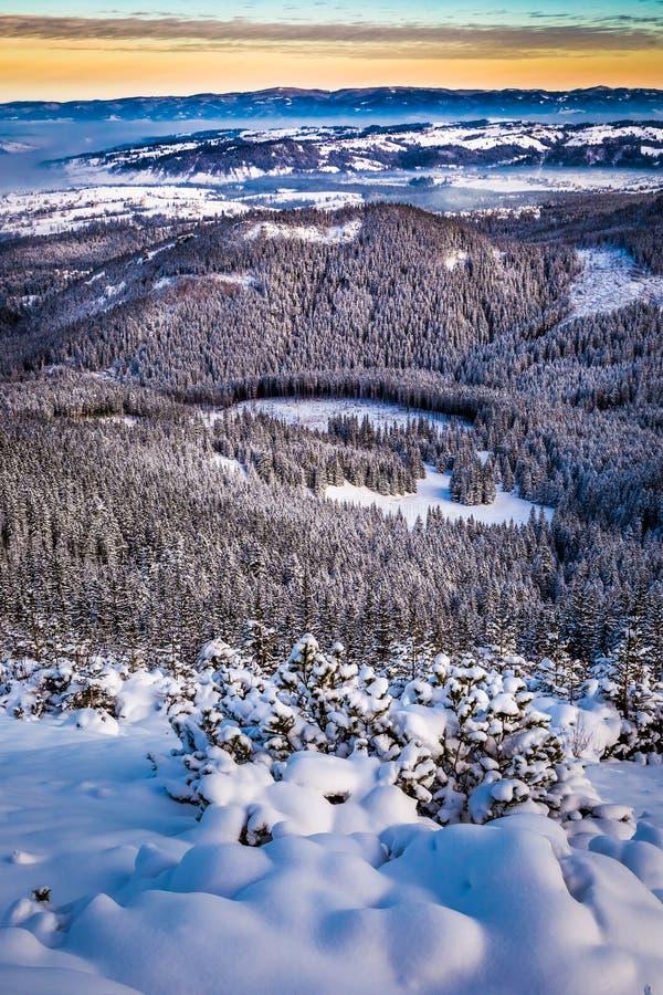 Vista de los picos de montaña del rastro de montaña fotografía de archivo libre de regalías