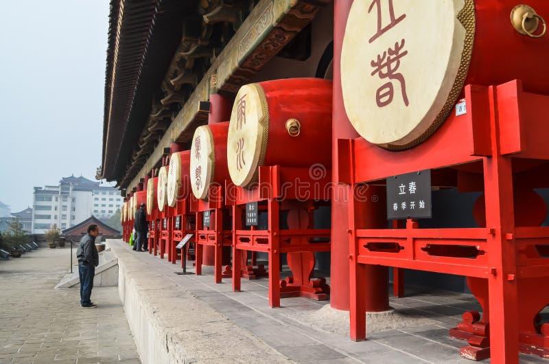 Vista de los tambores en el campanario en provincia de Xian, Shaanxi, China foto de archivo libre de regalías