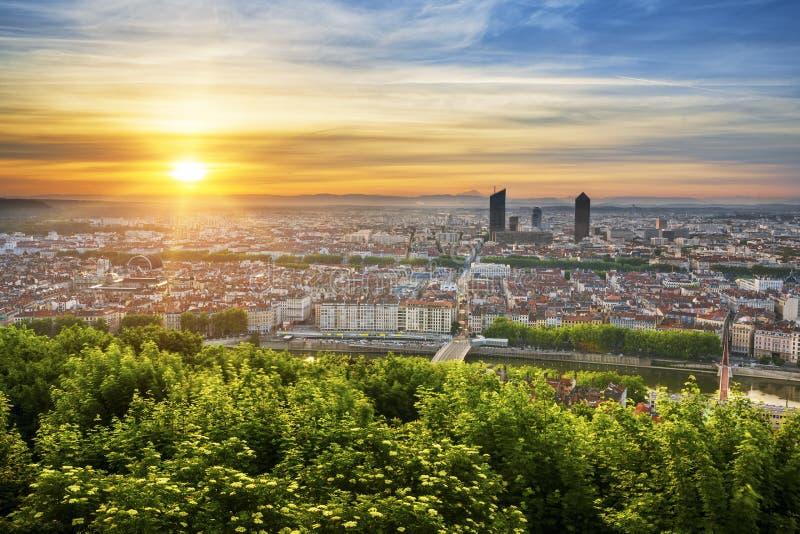 Vista de Lyon en la salida del sol imágenes de archivo libres de regalías