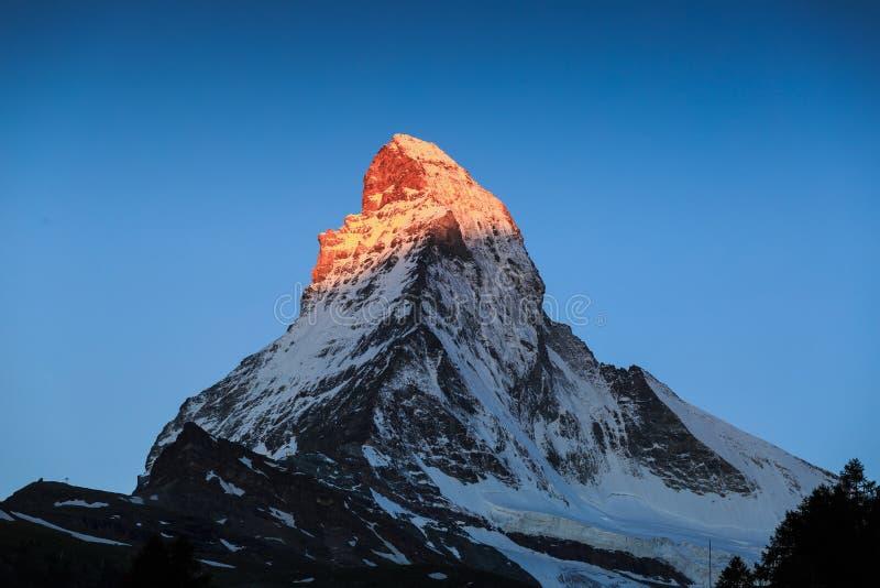 Vista de Matterhorn Mt em Zermatt fotografia de stock
