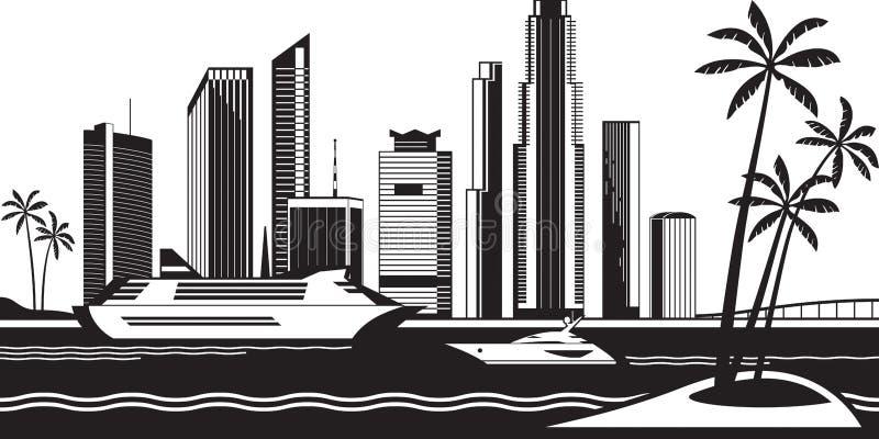 Vista de Miami del mar stock de ilustración