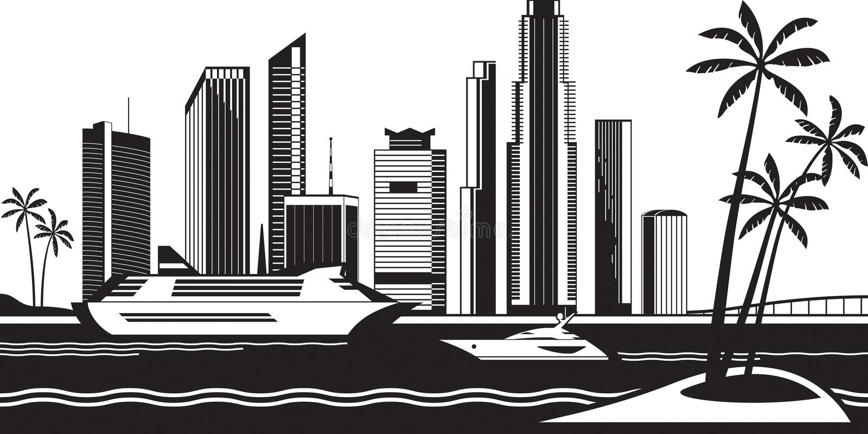 Vista de Miami do mar ilustração stock