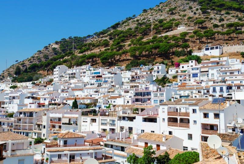 Vista de Mijas - cidade branca típica na Andaluzia, Espanha do sul, provence Malaga, Costa del Sol fotografia de stock