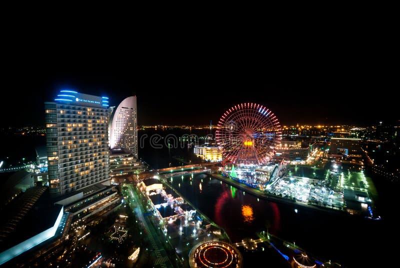 Vista de Minato Mirai, Yokohama, Japão da parte superior da construção a imagens de stock royalty free