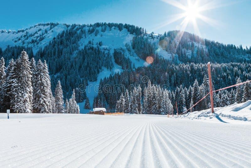 Vista de montañas y de cuestas del esquí en el esquí de Austria fotografía de archivo libre de regalías