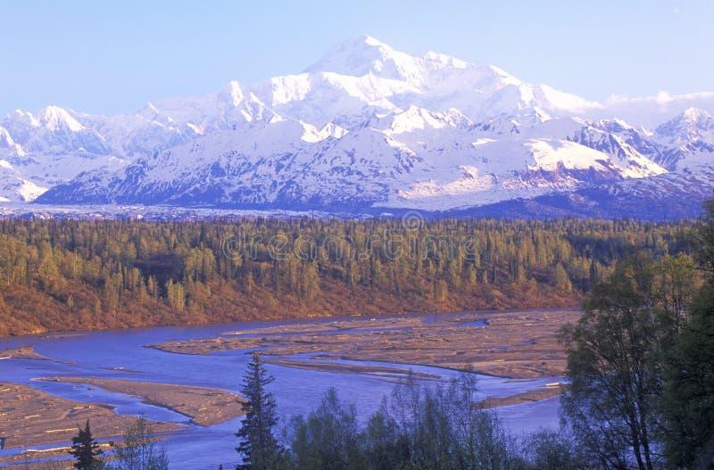Vista de Mt McKinley y Mt Denali de George Park Highway, ruta 3, Alaska imagenes de archivo