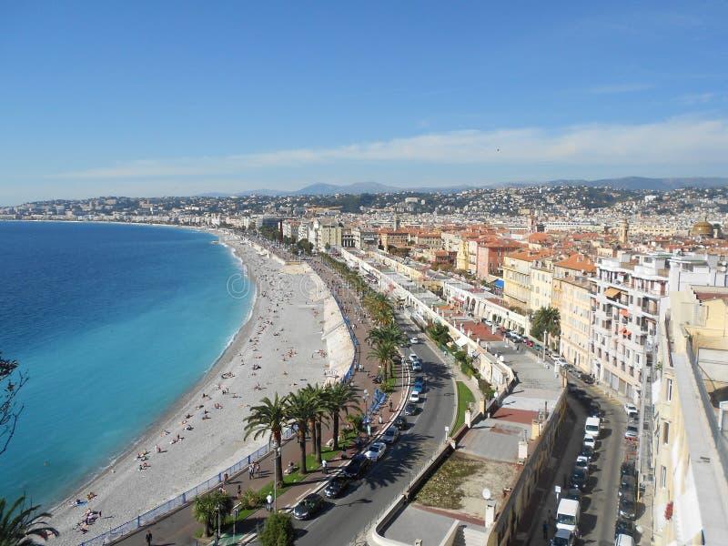 Vista de Niza en riviera francesa imagen de archivo