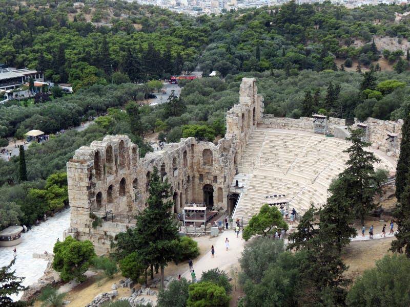 Vista de Odeon de Herodotus fotografia de stock
