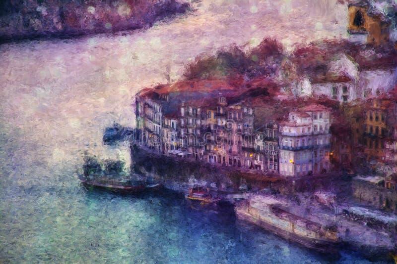 Vista de Oporto con Ribeira sobre el río del Duero libre illustration