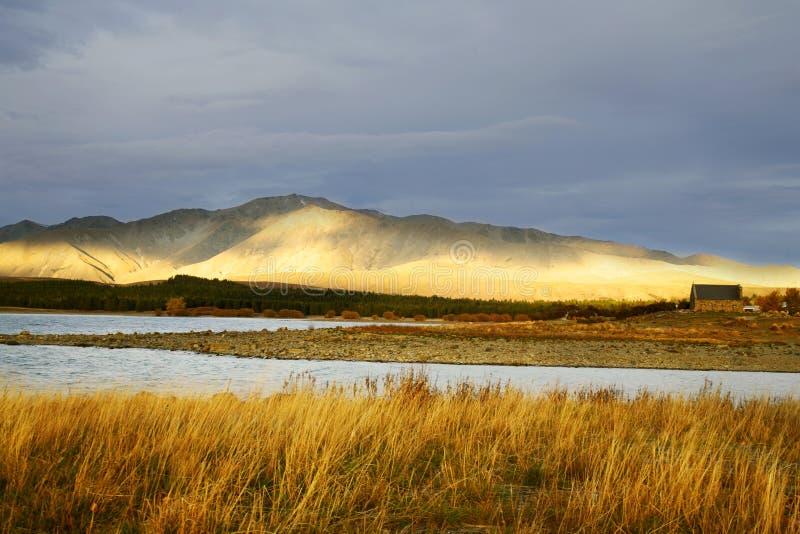 Vista de oro del lago Tekapo foto de archivo libre de regalías