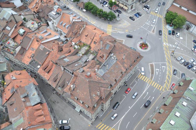 Vista de pájaro de Friburgo fotos de archivo