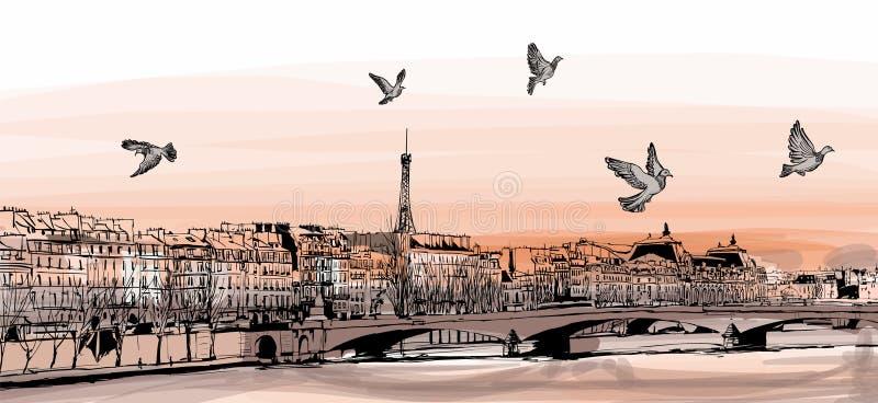 Vista de París de Pont des Arts ilustración del vector