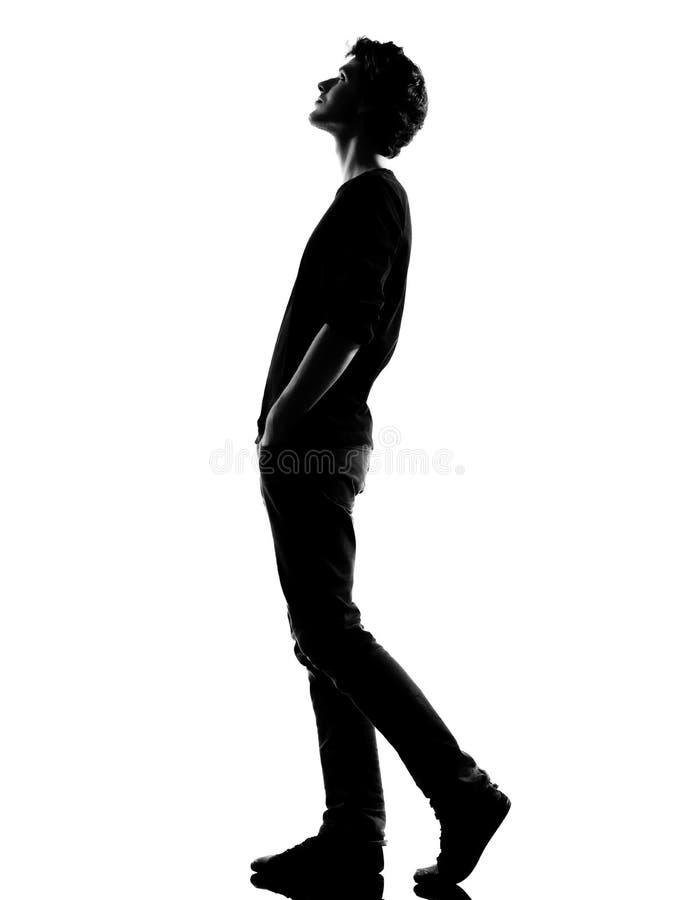 Vista de passeio da silhueta do homem novo acima fotografia de stock