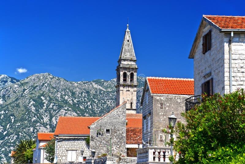 Vista de Perast na baía de Kotor, Montenegro fotos de stock