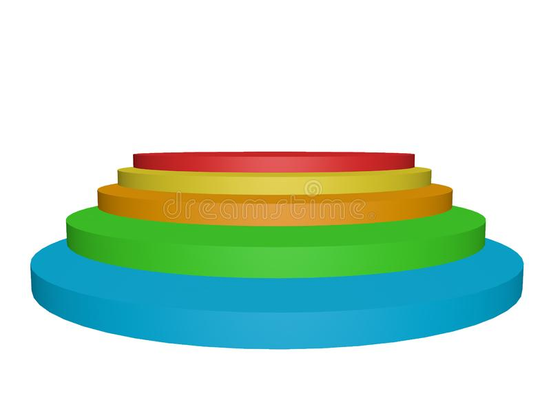 Vista de perspectiva 3d ilustração de formas geométricas circulares coloridas sobre fundo branco foto de stock