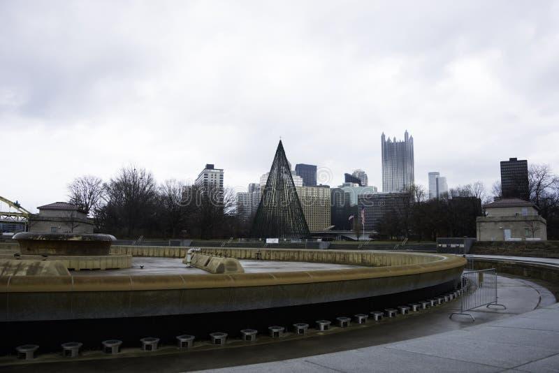 Vista de Pittsburgh en el invierno imágenes de archivo libres de regalías