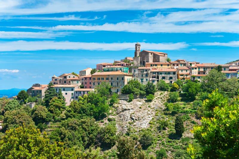 Vista de Poggio, Marciana, console da Ilha de Elba, Italy. fotos de stock royalty free