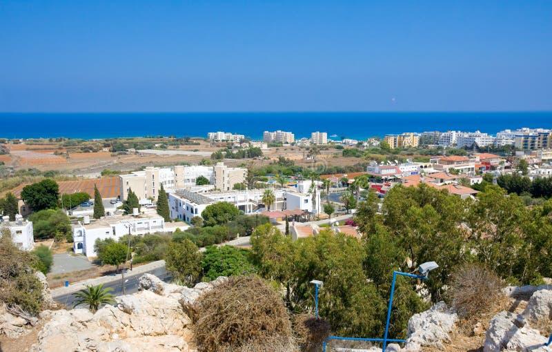 Vista de Protaras, distrito de Famagusta, Chipre foto de stock