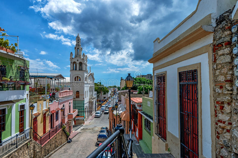 Vista de ruas de Santo Domingo imagem de stock royalty free