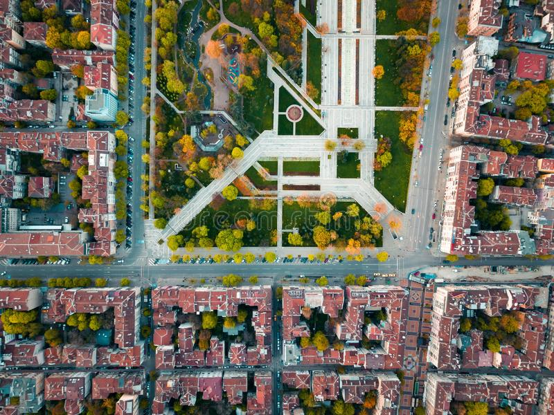 Vista de série do parque memorável em Sofia Bulgaria fotografia de stock