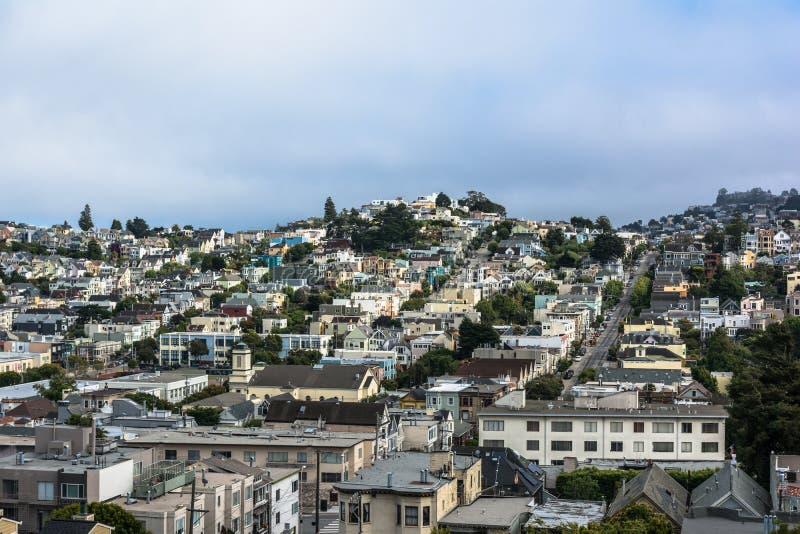 Vista de San Francisco de Castro Hills, California fotografía de archivo