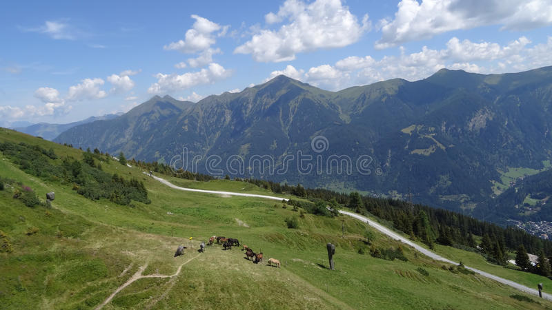 Vista de Stubnerkogel, Gastein mau, Almorama, Salzburg, Áustria imagem de stock royalty free