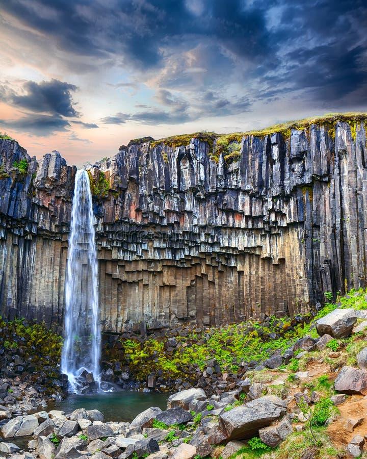 Vista de surpresa da cachoeira de Svartifoss com as colunas do basalto em Islândia sul foto de stock royalty free