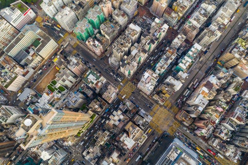 Vista de topo da cidade de Hong Kong foto de stock